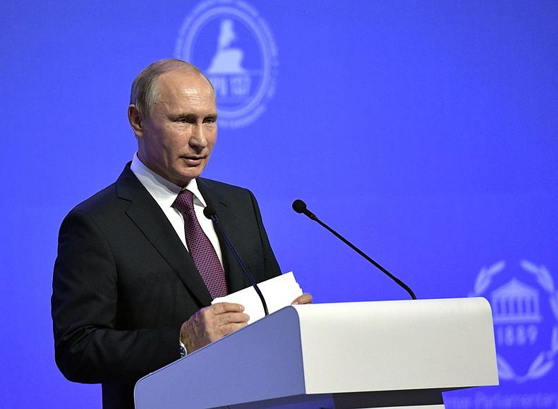 Выступление Владимира Путина на Открытии Ассамблеи Межпарламентского союза